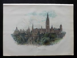 Cassell 1902 Antique Print. Parliament House, Ottawa, Canada